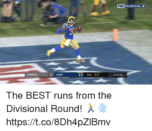 Dallas Cowboys, Memes, and Best: FOI DIVISIONAL  COWBOYS  7 RAM:S  13 2nd 3:27  1st & 10 The BEST runs from the Divisional Round! 🏃💨 https://t.co/8Dh4pZlBmv