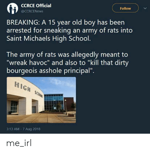 """School, Army, and Dirty: Follow  CCRCE Official  @CCRCENEWS  BREAKING: A 15 year old boy has been  arrested for sneaking an army of rats into  Saint Michaels High School.  The army of rats was allegedly meant to  """"wreak havoc"""" and also to """"kill that dirty  bourgeois asshole principal""""  HIGH SCHOOL  3:13 AM 7 Aug 2018 me_irl"""