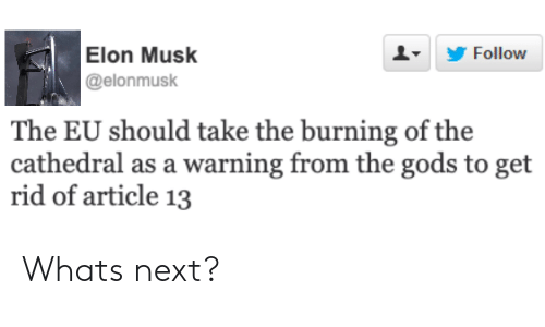 Elon Musk, Next, and Elon: Follow  Elon Musk  @elonmusk  The EU should take the burning of the  cathedral as a warning from the gods to get  rid of article 13 Whats next?