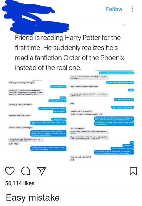 Follow Friend Is Reading Harry Potter For The First Time He Suddenly Realizes Hes -2853