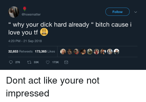 """Bitch, Love, and I Love You: Follow  @hoesmatter  """" why your dick hard already """" bitch cause i  love you tf  4:20 PM-21 Sep 2018  32,653 Retweets 173,365 Likes  276  33K Dont act like youre not impressed"""