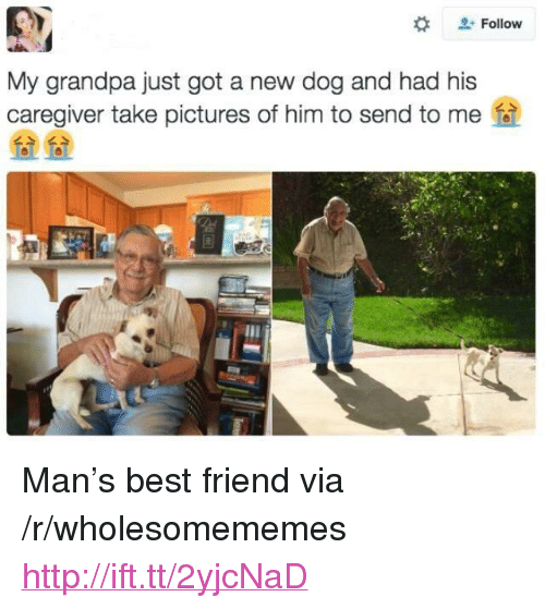 """Best Friend, Grandpa, and Best: Follow  My grandpa just got a new dog and had his  caregiver take pictures of him to send to me  么>  么> <p>Man's best friend via /r/wholesomememes <a href=""""http://ift.tt/2yjcNaD"""">http://ift.tt/2yjcNaD</a></p>"""