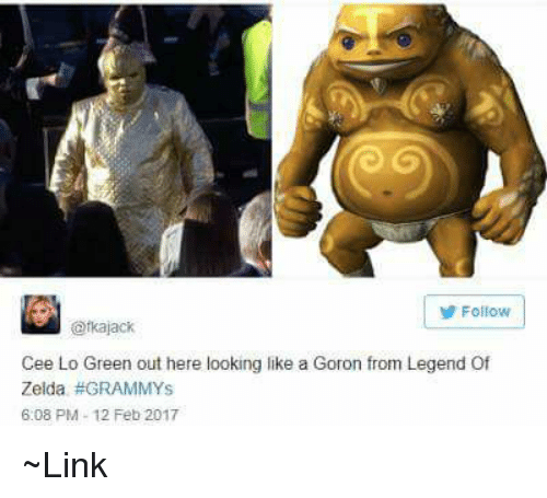 Memes, 🤖, and Legend of Zelda: Follow  ofkajack  Cee Lo Green out here looking like a Goron from Legend Of  Zelda GRAMMYS  6:08 PM 12 Feb 2017 ~Link