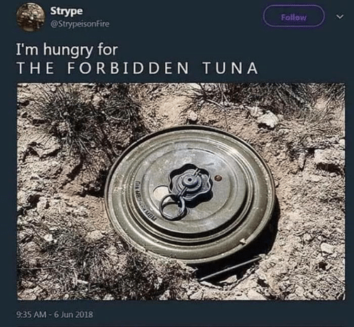 Hungry, Tuna, and For: Follow  Strype  @StrypeisonFire  I'm hungry for  THE FORBIDDEN TUNA  AMBM  9:35 AM-6 Jun 2018