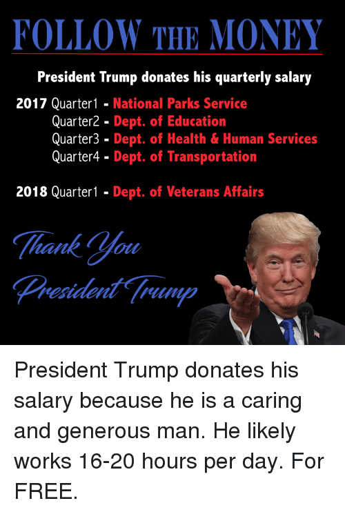 In Education Follow Money >> Follow The Money President Trump Donates His Quarterly Salary 2017