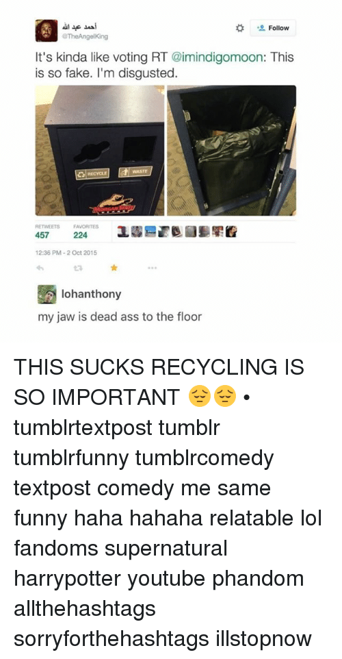 Memes, Fandom, and 🤖: Follow  @TheAngelKing  It's kinda like voting RT @imindigomoon: This  is so fake. I'm disgusted  RECYCLE  RENVEETs FAVORITES  457  224  12:36 PM 2 Oct 2015  lohanthony  my jaw is dead ass to the floor THIS SUCKS RECYCLING IS SO IMPORTANT 😔😔 • tumblrtextpost tumblr tumblrfunny tumblrcomedy textpost comedy me same funny haha hahaha relatable lol fandoms supernatural harrypotter youtube phandom allthehashtags sorryforthehashtags illstopnow