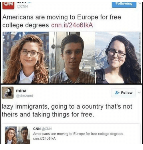 Cnn College And Lazy Following Americans Are Moving To