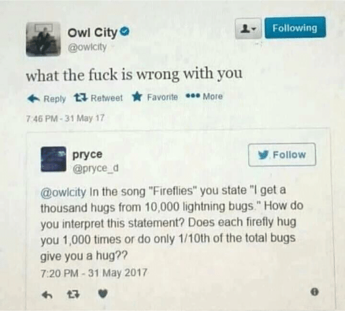 """Firefly, Fuck, and Lightning: Following  Owl City  @owicity  what the fuck is wrong with you  Reply  ta Retweet  Favorite  More  746 PM 31 May 17  pryce  Follow  @pryce d  @owlcity In the song """"Fireflies"""" you state """"l get a  thousand hugs from 10,000 lightning bugs."""" How do  you interpret this statement? Does each firefly hug  you 1,000 times or do only 1/10th of the total bugs  give you a hug??  7:20 PM 31 May 2017"""