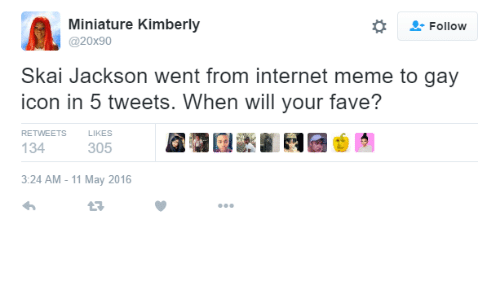 Internet, Meme, and Fave: Followw  Miniature Kimberly  @20x90  Skai Jackson went from internet meme to gay  icon in 5 tweets. When will your fave?  RETWEETS  LIKES  134  305  3:24 AM - 11 May 2016