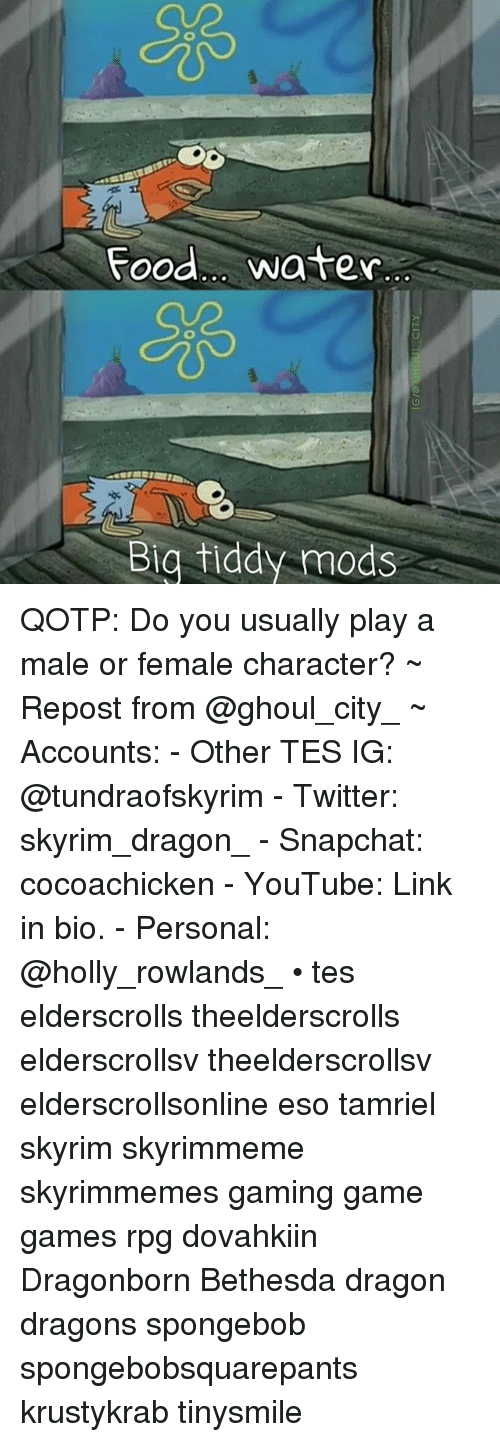 Food Water Big Tiddy Mods QOTP Do You Usually Play a Male or
