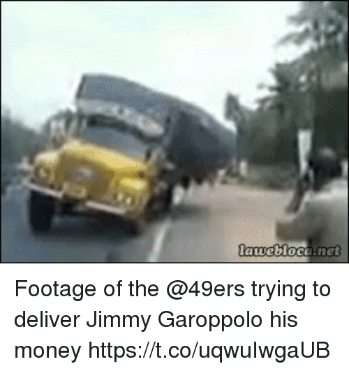 Footage of the @49ers trying to deliver Jimmy Garoppolo his money https://