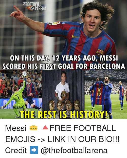 Barcelona, Football, and Memes: FOOTBALL  ON THIS DAY 12 YEARS AGO, MESSI  SCORED HIS FIRST GOAL FOR BARCELONA  THE REST IS HISTORY! Messi 👑 🔺FREE FOOTBALL EMOJIS -> LINK IN OUR BIO!!! Credit ➡️ @thefootballarena