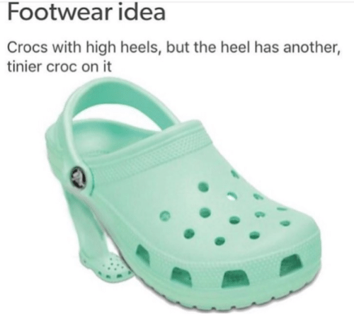 cd67730da8c5 Footwear Idea Crocs With High Heels but the Heel Has Another Tinier ...