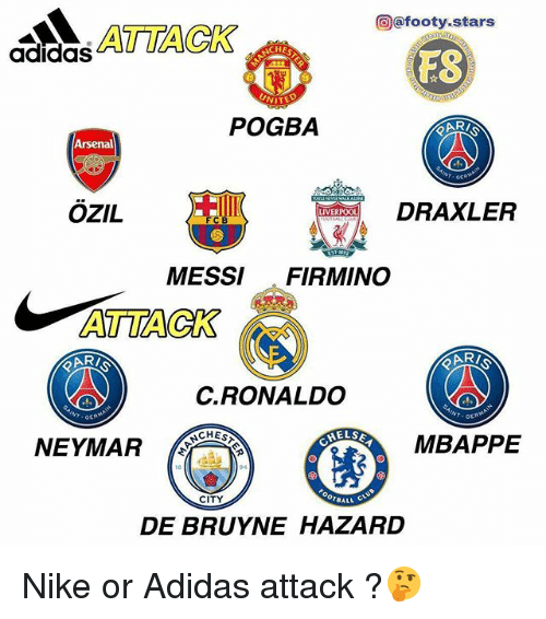 Adidas, Arsenal, and Memes: @@footy.stars  HE  adidaS  FS  NIT  POGBA  Arsenal  OZIL  DRAXLER  LIVERPOO  MESSI FIRMINO  ATTACK  C.RONALDO  CHES  ELSE  NEYMAR  MBAPPE  CITY  DE BRUYNE HAZARD Nike or Adidas attack ?🤔