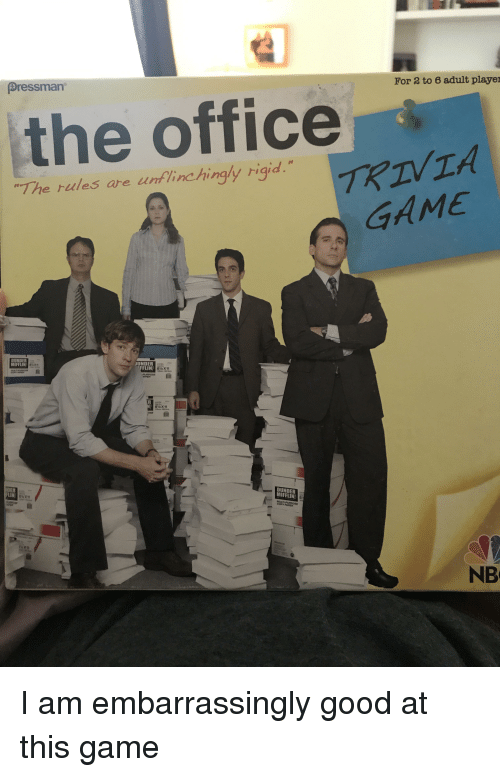 the office game and good for 3 to 6 adult player pressman the