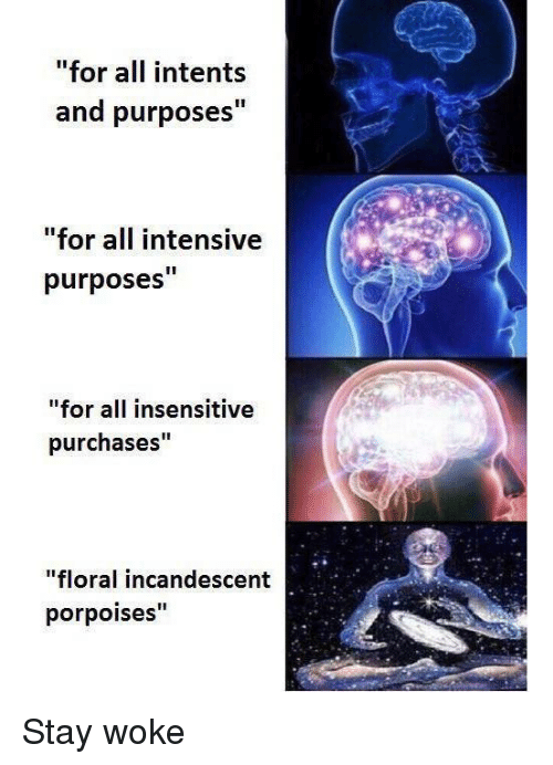 """Memes, 🤖, and All: """"for all intents  and purposes""""  for all intensive  purposes""""  """"for all insensitive  purchases""""  """"floral incandescent  porpoises"""" Stay woke"""