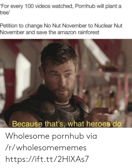 Amazon, Pornhub, and Videos: 'For every 100 videos watched, Pornhub will plant a  tree'  Petition to change No Nut November to Nuclear Nut  November and save the amazon rainforest  Because that's, what heroes do Wholesome pornhub via /r/wholesomememes https://ift.tt/2HlXAs7