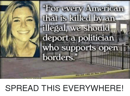"Memes, 🤖, and Who: ""For every Ameriean  hat iS killedlby an  illegal, we should  deport a politician  who supports open  orders. SPREAD THIS EVERYWHERE!"