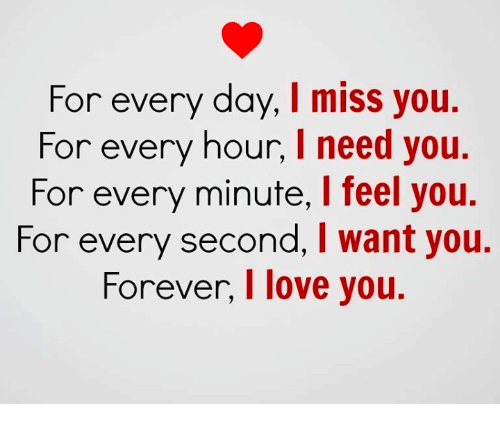 For Every Day I Miss You For Every Hour I Need You For Every Minute