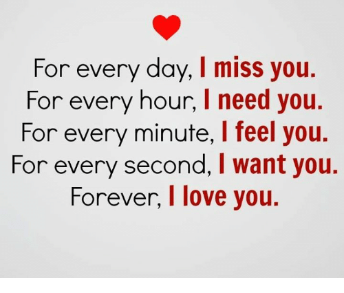 Love, Forever, and Day: For every day, I miss you.  For every hour, I need you.  For every minute, I feel you.  For every second, I want you.  Forever, l love you.