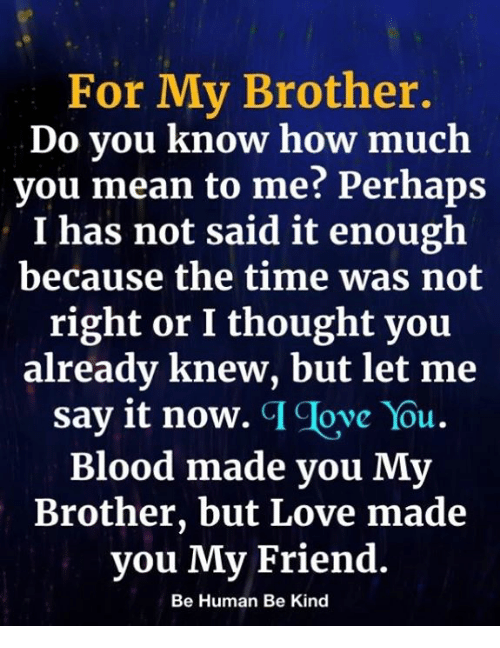 For My Brother Do You Know How Much You Mean To Me Perhaps I Has