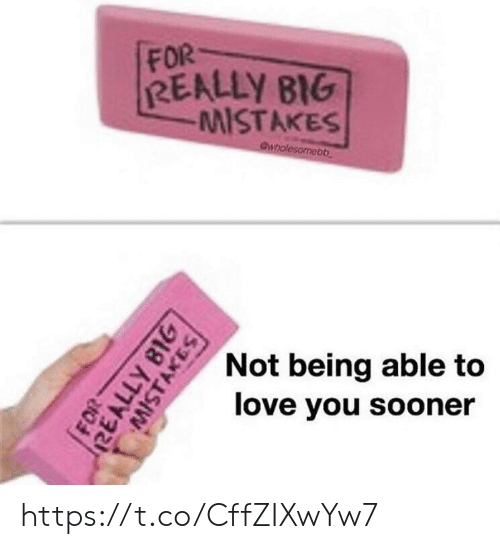 Love, Memes, and 🤖: FOR  REALLY B1G  MISTAKESs  Not being able to  love you sooner https://t.co/CffZIXwYw7