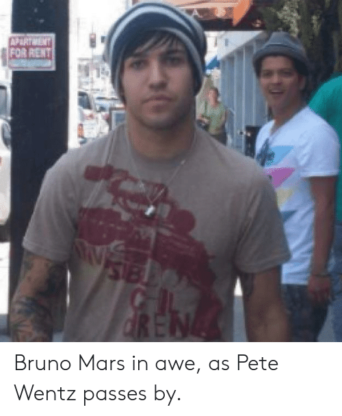 Bruno Mars, Funny, and Mars: FOR RENT Bruno Mars in awe, as Pete Wentz passes by.