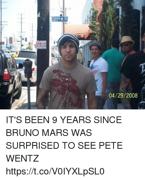 Bruno Mars, Funny, and Mars: FOR RENT  Fores a St  04/29/2008 IT'S BEEN 9 YEARS SINCE BRUNO MARS WAS SURPRISED TO SEE PETE WENTZ https://t.co/V0IYXLpSL0