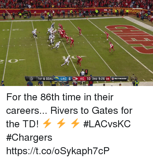 Memes, Chargers, and Time: For the 86th time in their careers...  Rivers to Gates for the TD! ⚡️ ⚡️ ⚡️ #LACvsKC #Chargers https://t.co/oSykaph7cP