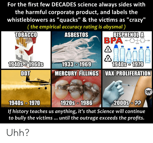 """Crazy, Funny, and History: For the first few DECADES science always sides with  the harmful corporate product, and labels the  whistleblowers as """"quacks"""" & the victims as """"crazy""""  (the empirical accuracy rating is abysmal)  ASBESTOS  TOBACCO  BISPHENOL A  (73  1940S1979  1940S e 1960S  DDT  1933 1969  MERCURY FILLINGS VAX PROLIFERATION  1940s-1970  If history teaches us anything, it's that Science will continue  to bully the victims... until the outrage exceeds the profits.  1920S 1986  2000SP? Uhh?"""