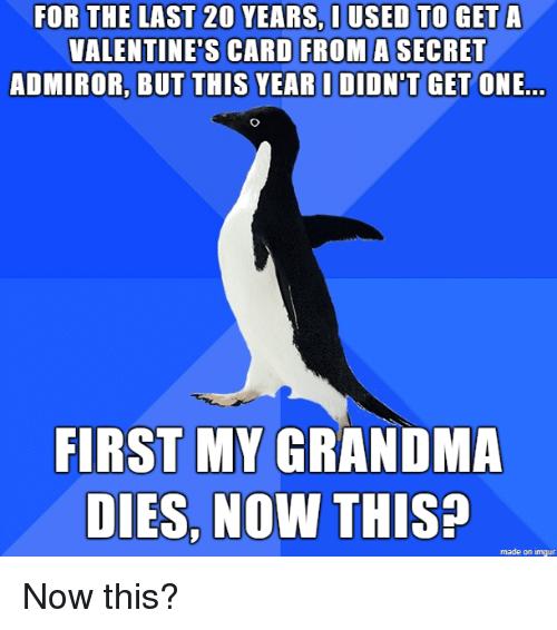 Grandma, Valentine's Card, and Imgur: FOR THE LAST 20 YEARS, I USED TO GET A  VALENTINE'S CARD FROM A SECRET  ADMIROR, BUT THIS YEAR I DIDN'T GET ONE  FIRST MY GRANDMA  DIES, NOW THISP  made on imgur