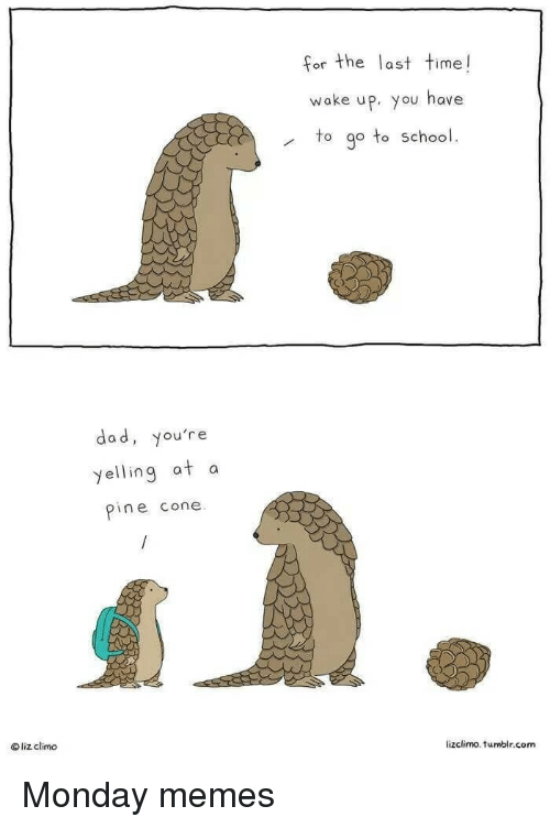 Dad, Memes, and School: for the last time!  or the Tas  wake up, you have  to go to school.  dad, you're  yelling at a  pine cone  liz climo  lizclimo. tumblr.com Monday memes