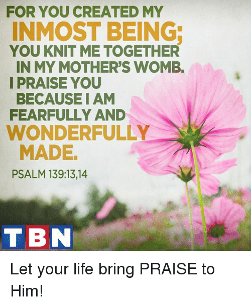 Memes, 🤖, and Womb: FOR YOU CREATED MY  INMOST BEING  YOU KNIT ME TOGETHER  IN MY MOTHER'S WOMB.  I PRAISE YOU  BECAUSE I AM  FEARFULLY AND  WONDERFULLY  MADE  PSALM 139:13, 14  TBN Let your life bring PRAISE to Him!