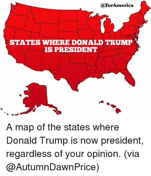 Foramerica States Where Donald Trump Is President A Map Of The