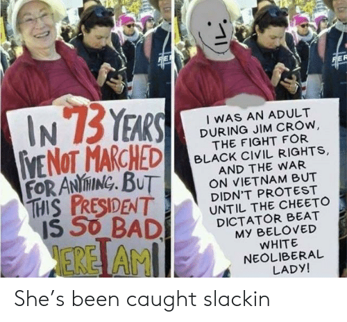 Protest, Reddit, and Black: FORANİ ING, BUT  1556BADİ DICTA TO ROVED  EREİ AM  IWAS AN ADULT  DURING JIM CROw  THE FIGHT FOR  BLACK CIVIL RIGHTS,  AND THE WAR  ON VIETNAM BUT  DIDN'T PROTEST  UNTIL THE CHEETO  MY BELOVED  WHITE  NEOLIBERAL  LADY! She's been caught slackin