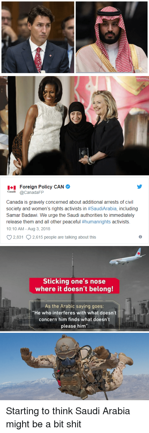 "Shit, Canada, and Saudi Arabia: Foreign Policy CAN  CanadaFP  Canada is gravely concerned about additional arrests of civil  society and women's rights activists in #SaudiArabia, including  Samar Badawi. We urge the Saudi authorities to immediately  release them and all other peaceful #humanrights activists.  10:10 AM - Aug 3, 2018  2,831 2,615 people are talking about this   Sticking one's nose  where it doesn't belong!  As the Arabic saying goes:  ""He who interferes with what doesn't  concern him finds what doesn't  please him Starting to think Saudi Arabia might be a bit shit"