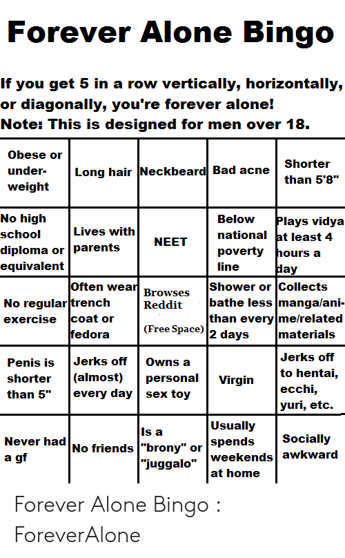 Forever Alone Bingo if You Get 5 in a Row Vertically Horizontally or