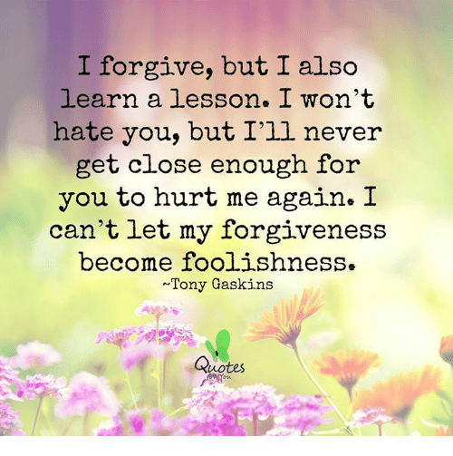 Forgive But I Also I Learn A Lesson I Wont Hate You But Ill Never