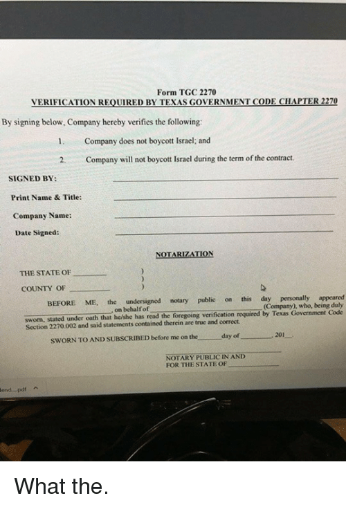 Form TGC 2270 VERIFICATION REQUIRED BY TEXAS GOVERNMENT CODE CHAPTER
