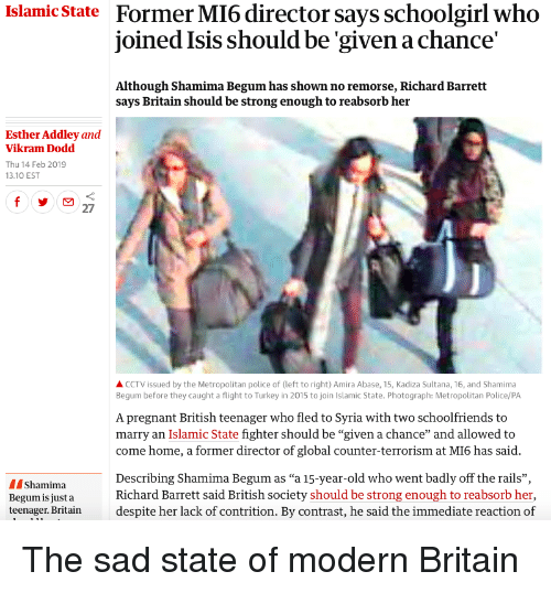 Former Mi6 Director Says Schoolgirl Who Joined Isis Should Be Given