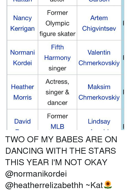 Memes, Mlb, and Heathers: Former  Nancy  Artem  Olympic  Kerrigan  Chigvintsev  figure skater  Fifth  Valentin  Normani  Harmony  Kordel Singer  Chmerkovskiy  Actress,  Heather  Maksim  Singer &  Morris  Chmerkovskiy  dancer  Former  Lindsay  David  MLB TWO OF MY BABES ARE ON DANCING WITH THE STARS THIS YEAR I'M NOT OKAY @normanikordei @heatherrelizabethh ~Kat🌻