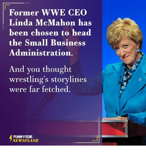 Dank, Wrestling, and 🤖: Former WWE CEO  Linda McMahon has  been chosen to head  the Small Business  Administration.  And you thought  wrestling's storylines  were far fetched.  FUNNY DIE  NEWSFLASH