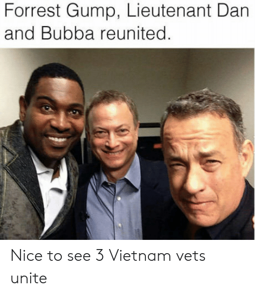 Bubba, Forrest Gump, and Vietnam: Forrest Gump, Lieutenant Dan  and Bubba reunited Nice to see 3 Vietnam vets unite