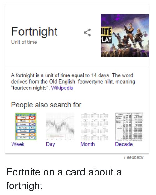 Fortnight ITE LAY Unit of Time a Fortnight Is a Unit of Time