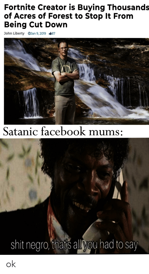 Facebook, Shit, and Liberty: Fortnite Creator is Buying Thousands  of Acres of Forest to Stop It From  Being Cut Down  John Liberty  OJan 9, 2019  1.87  Satanic facebook mums:  shit negro, thats all vou had to say ok