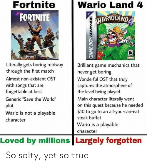 """Being Salty, True, and Wario: Fortnite  FORTNITE  Wario Land 4  MARIOLAND  1  Literally gets boring midway rilliant game mechanics that  through the first match  Almost non-existent OST  with songs that are  forgettable at best  Generic """"Save the World""""  plot  Wario is not a playable  character  never get boring  Wonderful OST that truly  captures the atmosphere of  the level being played  Main character literally went  on this quest because he needed  $10 to go to an all-you-can-eat  steak buffet  Wario is a playable  character  Loved by millions Largely forgotten So salty, yet so true"""