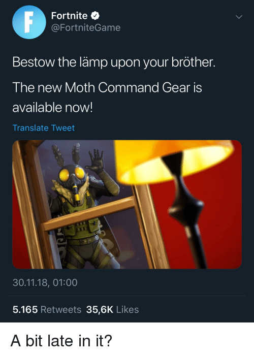 Fortnite Bestow The Lamp Upon Your Brother The New Moth Command Gear