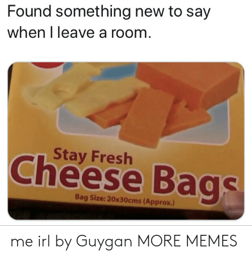Dank, Fresh, and Memes: Found something new to say  when I leave a room  Stay Fresh  Cheese Bags  Bag Size: 20x30cms (Approx.) me irl by Guygan MORE MEMES