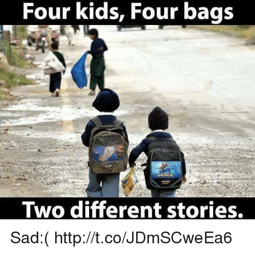 Four Kids Four Bags Two Different Stories Sad httptcoJDmSCweEa6