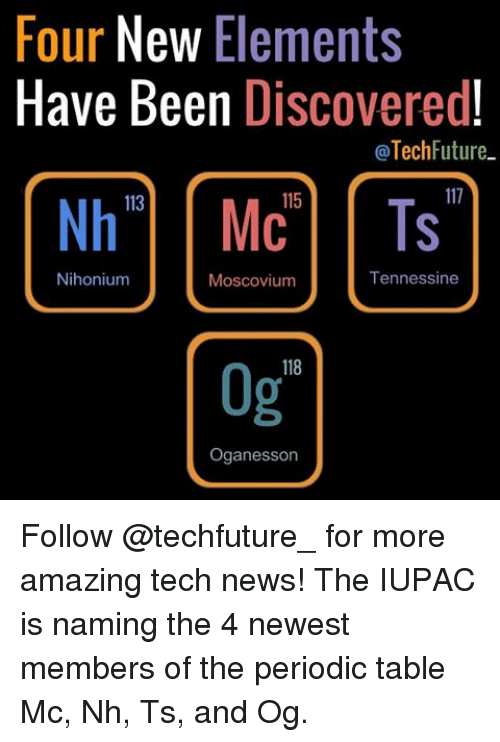 Four New Elements Have Been Discovered Tech Future 115 Nh Mc